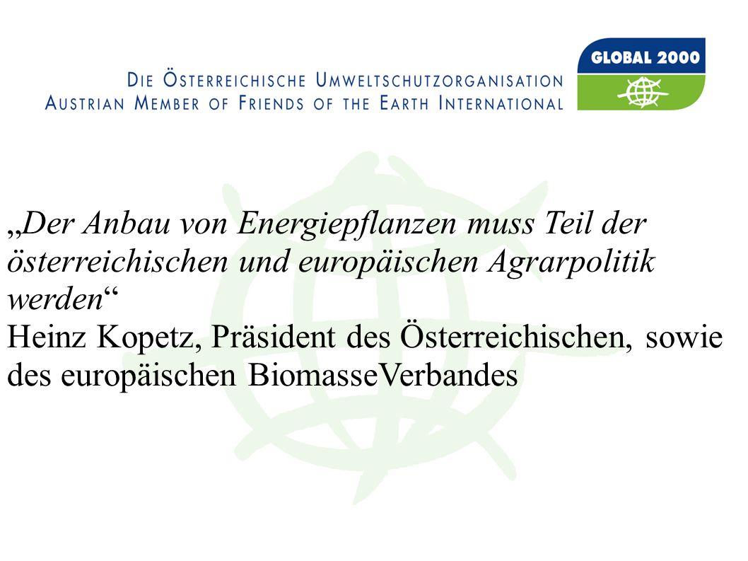 Der Anbau von Energiepflanzen muss Teil der österreichischen und europäischen Agrarpolitik werden Heinz Kopetz, Präsident des Österreichischen, sowie des europäischen BiomasseVerbandes