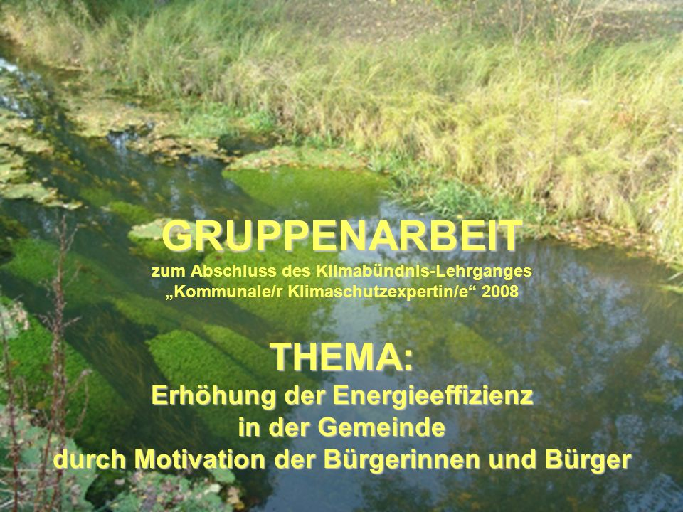 GRUPPENARBEIT THEMA: Erhöhung der Energieeffizienz in der Gemeinde durch Motivation der Bürgerinnen und Bürger GRUPPENARBEIT zum Abschluss des Klimabü