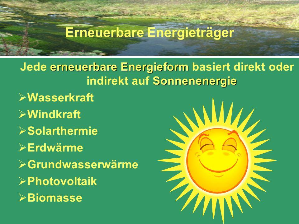 Erneuerbare Energieträger erneuerbare Energieform Sonnenenergie Jede erneuerbare Energieform basiert direkt oder indirekt auf Sonnenenergie Wasserkraf