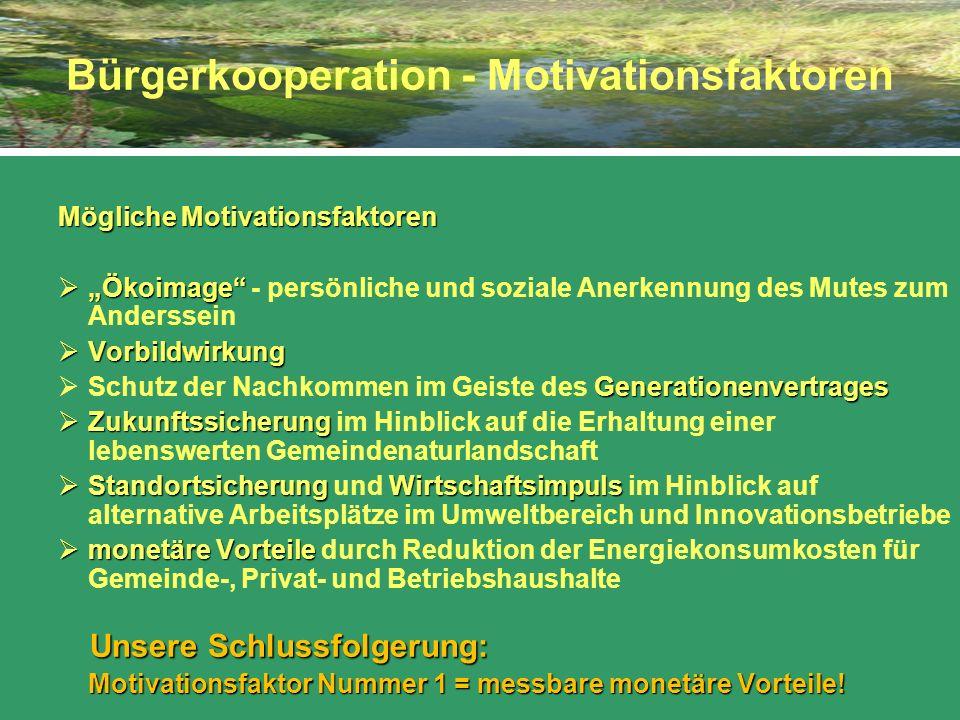 Bürgerkooperation - Motivationsfaktoren Mögliche Motivationsfaktoren Ökoimage Ökoimage - persönliche und soziale Anerkennung des Mutes zum Anderssein
