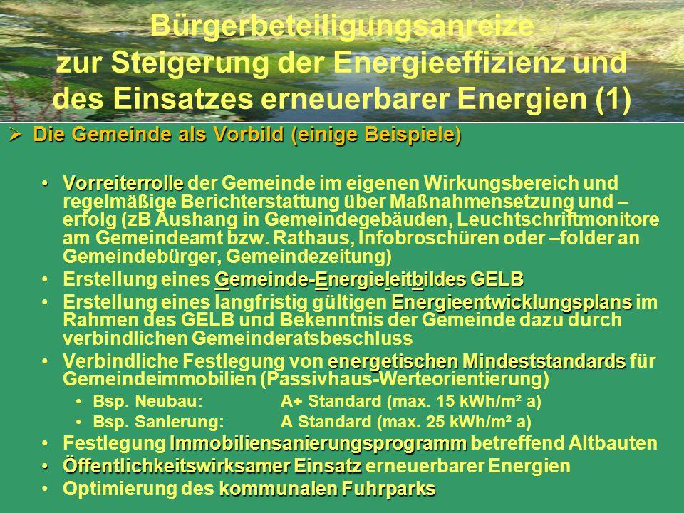 Bürgerbeteiligungsanreize zur Steigerung der Energieeffizienz und des Einsatzes erneuerbarer Energien (1) Die Gemeinde als Vorbild (einige Beispiele)