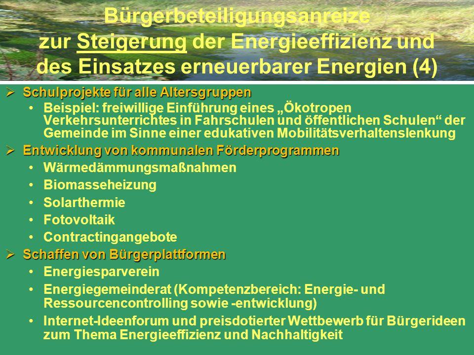 Bürgerbeteiligungsanreize zur Steigerung der Energieeffizienz und des Einsatzes erneuerbarer Energien (4) Schulprojekte für alle Altersgruppen Schulpr