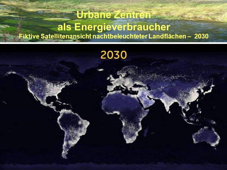 Urbane Zentren als Energieverbraucher Fiktive Satellitenansicht nachtbeleuchteter Landflächen – 2030