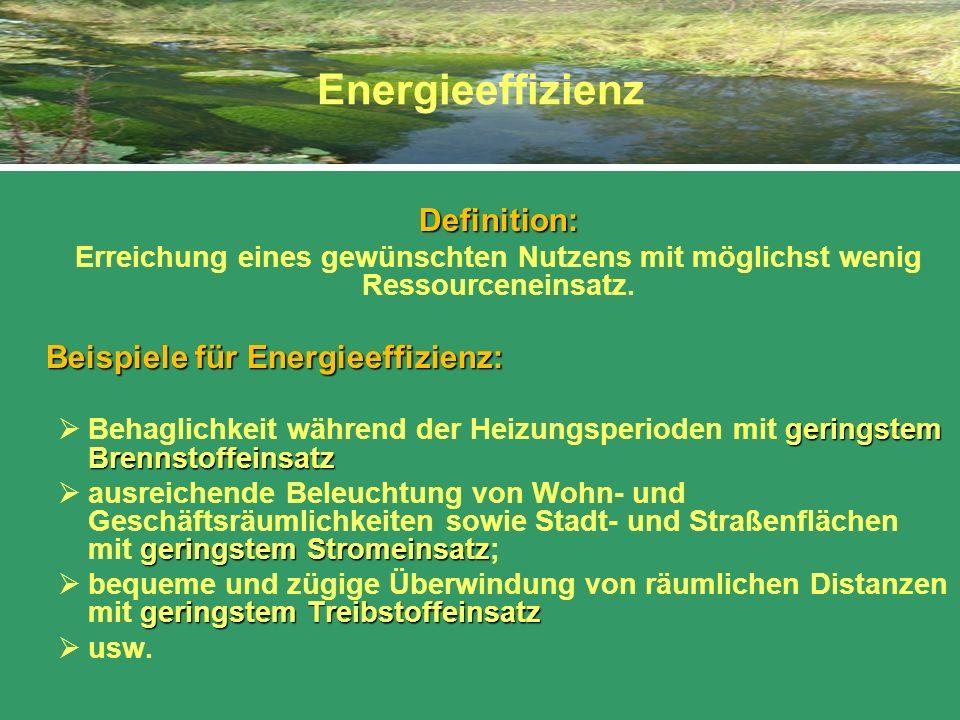 Energieeffizienz Definition: Erreichung eines gewünschten Nutzens mit möglichst wenig Ressourceneinsatz. Beispiele für Energieeffizienz: geringstem Br
