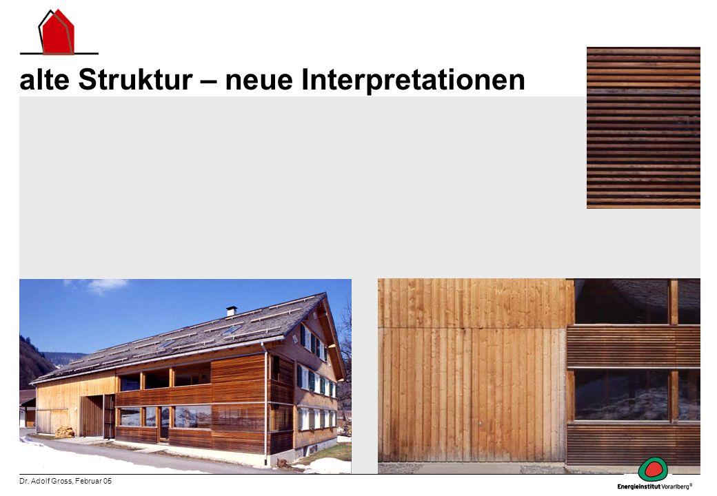 Dr. Adolf Gross, Februar 05 alte Struktur – neue Interpretationen