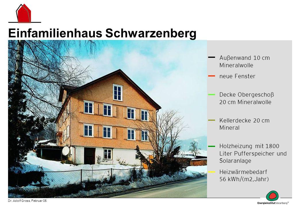 Dr. Adolf Gross, Februar 05 Einfamilienhaus Schwarzenberg Außenwand 10 cm Mineralwolle neue Fenster Decke Obergeschoß 20 cm Mineralwolle Kellerdecke 2