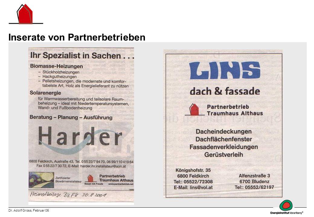 Dr. Adolf Gross, Februar 05 Inserate von Partnerbetrieben