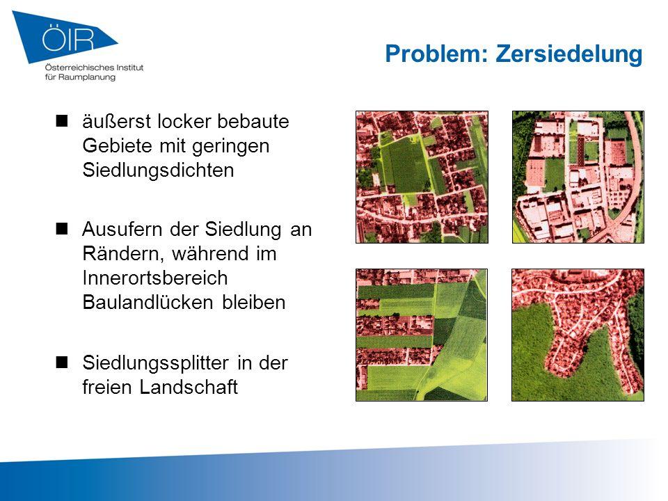 Problem: Zersiedelung Ausufern der Siedlung an Rändern, während im Innerortsbereich Baulandlücken bleiben Siedlungssplitter in der freien Landschaft ä