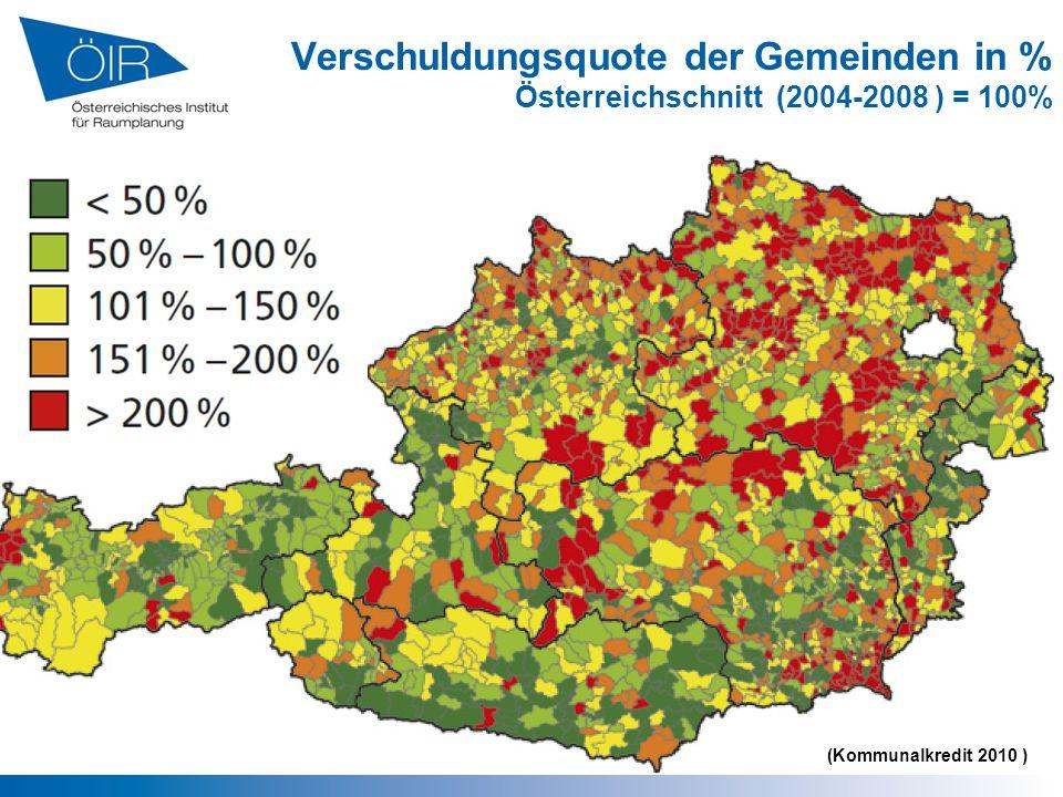Verschuldungsquote der Gemeinden in % Österreichschnitt (2004-2008 ) = 100% (Kommunalkredit 2010 )