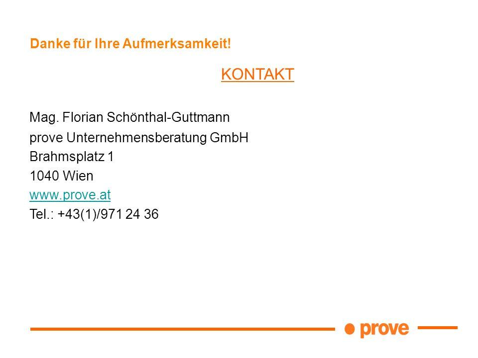 Danke für Ihre Aufmerksamkeit! KONTAKT Mag. Florian Schönthal-Guttmann prove Unternehmensberatung GmbH Brahmsplatz 1 1040 Wien www.prove.at Tel.: +43(