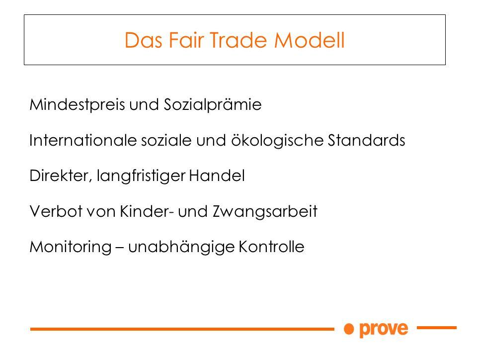 Das Fair Trade Modell Mindestpreis und Sozialprämie Internationale soziale und ökologische Standards Direkter, langfristiger Handel Verbot von Kinder- und Zwangsarbeit Monitoring – unabhängige Kontrolle
