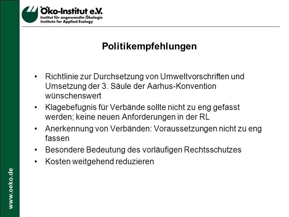 www.oeko.de Politikempfehlungen Richtlinie zur Durchsetzung von Umweltvorschriften und Umsetzung der 3.