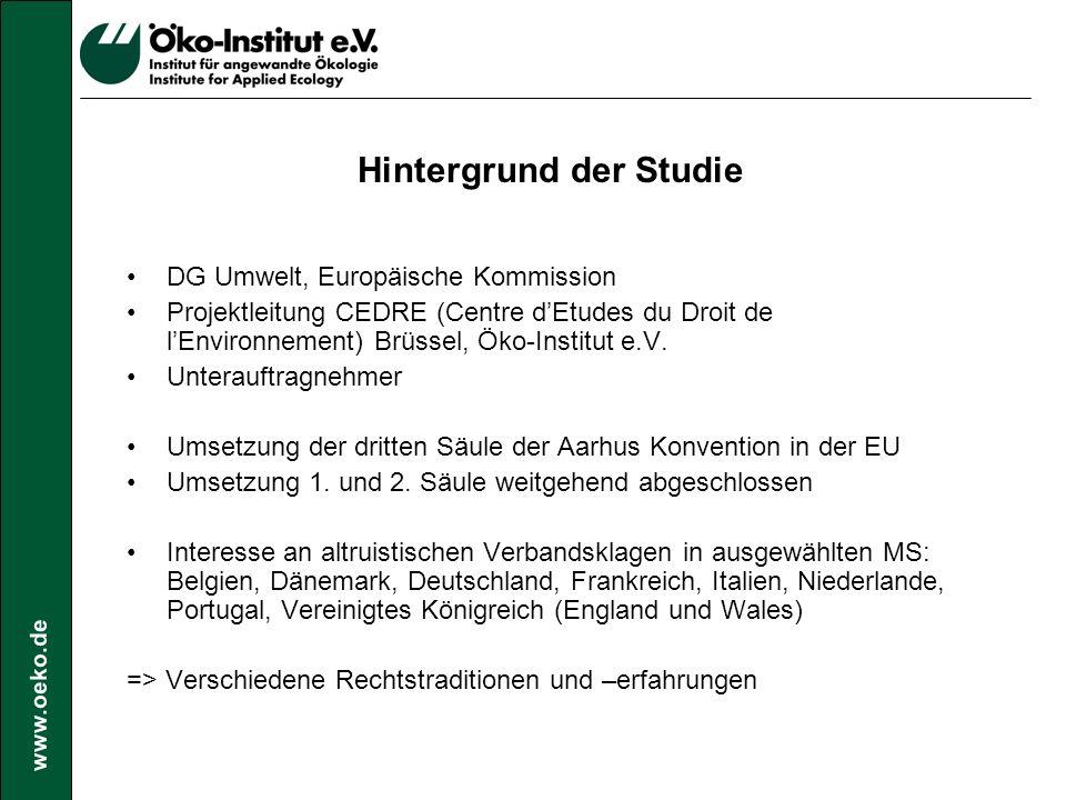 www.oeko.de Methodik Erhebung der Verbandsklagen für einen Zeitraum von mind.