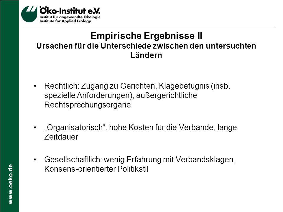 www.oeko.de Empirische Ergebnisse III Erfolgsquoten Land% gewonnen% verloren (inkl.