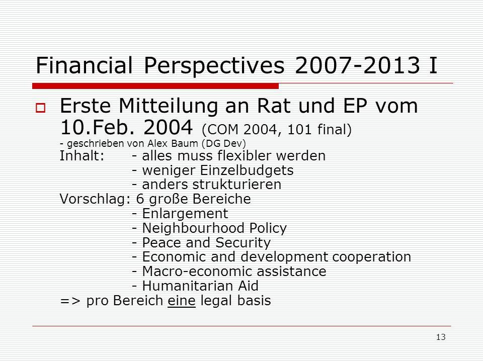 13 Financial Perspectives 2007-2013 I Erste Mitteilung an Rat und EP vom 10.Feb.