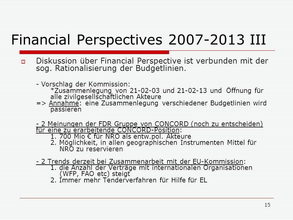 15 Financial Perspectives 2007-2013 III Diskussion über Financial Perspective ist verbunden mit der sog.