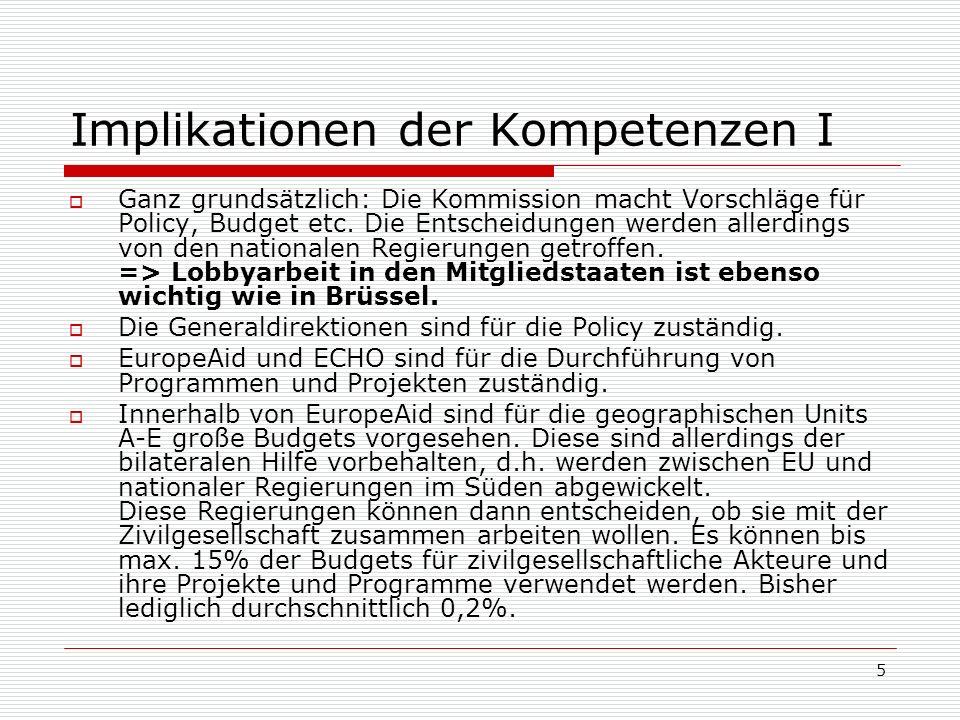 5 Implikationen der Kompetenzen I Ganz grundsätzlich: Die Kommission macht Vorschläge für Policy, Budget etc.