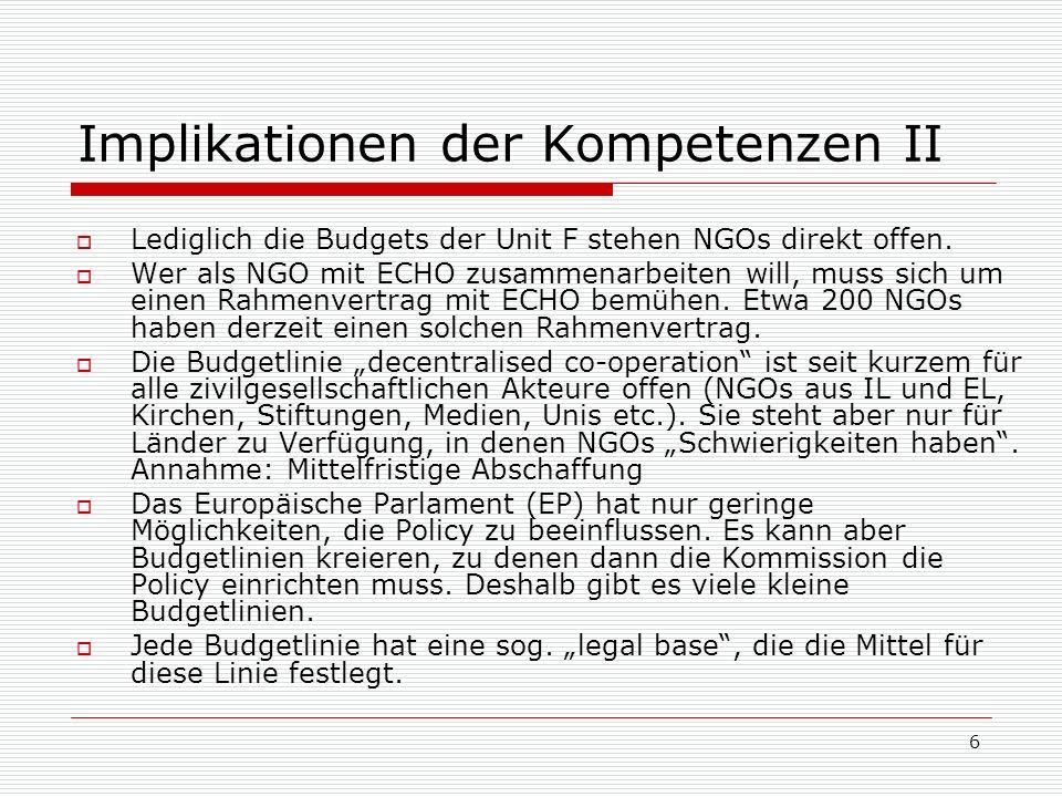 6 Implikationen der Kompetenzen II Lediglich die Budgets der Unit F stehen NGOs direkt offen.