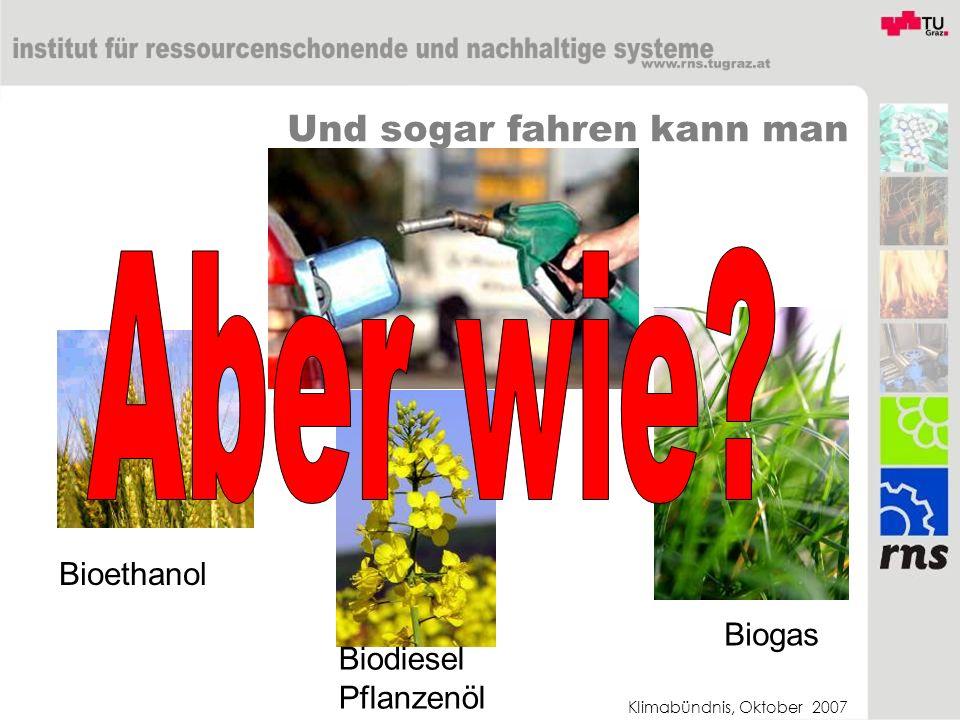 Klimabündnis, Oktober 2007 Und sogar fahren kann man Bioethanol Biodiesel Pflanzenöl Biogas