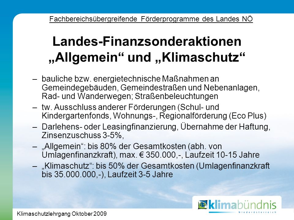 Klimaschutzlehrgang Oktober 2009 –bauliche bzw.
