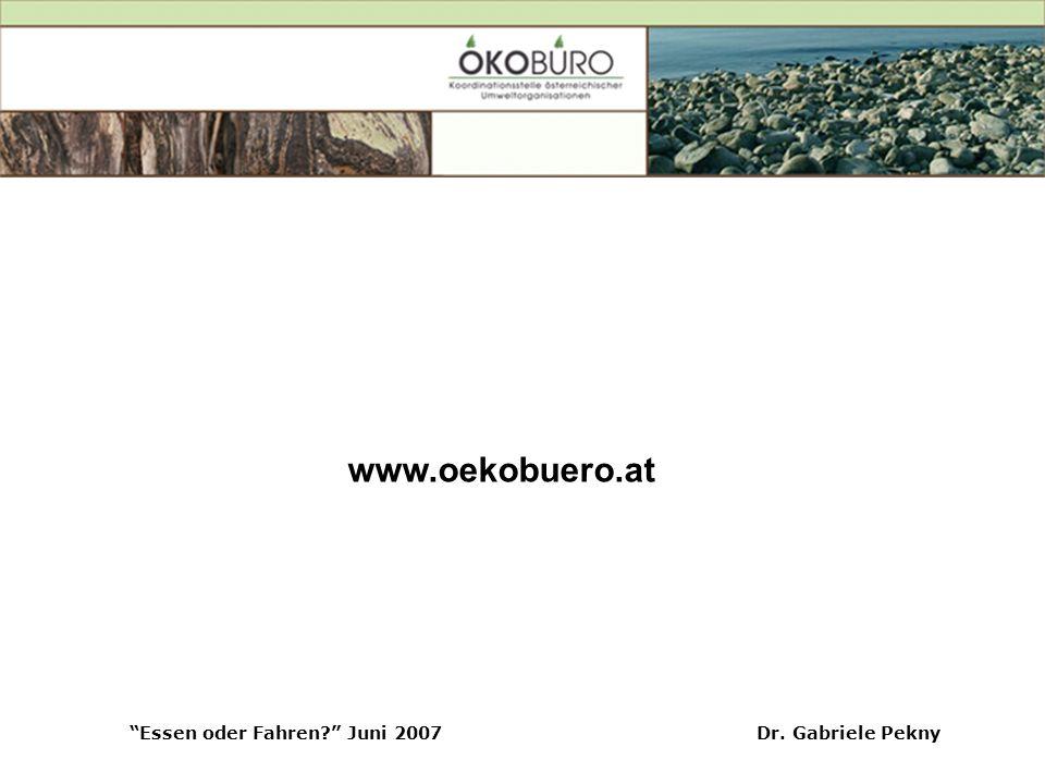 Essen oder Fahren Juni 2007Dr. Gabriele Pekny www.oekobuero.at
