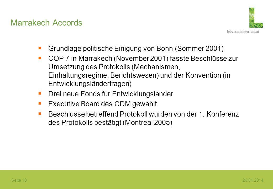 Seite 10 26.04.2014 Marrakech Accords Grundlage politische Einigung von Bonn (Sommer 2001) COP 7 in Marrakech (November 2001) fasste Beschlüsse zur Um