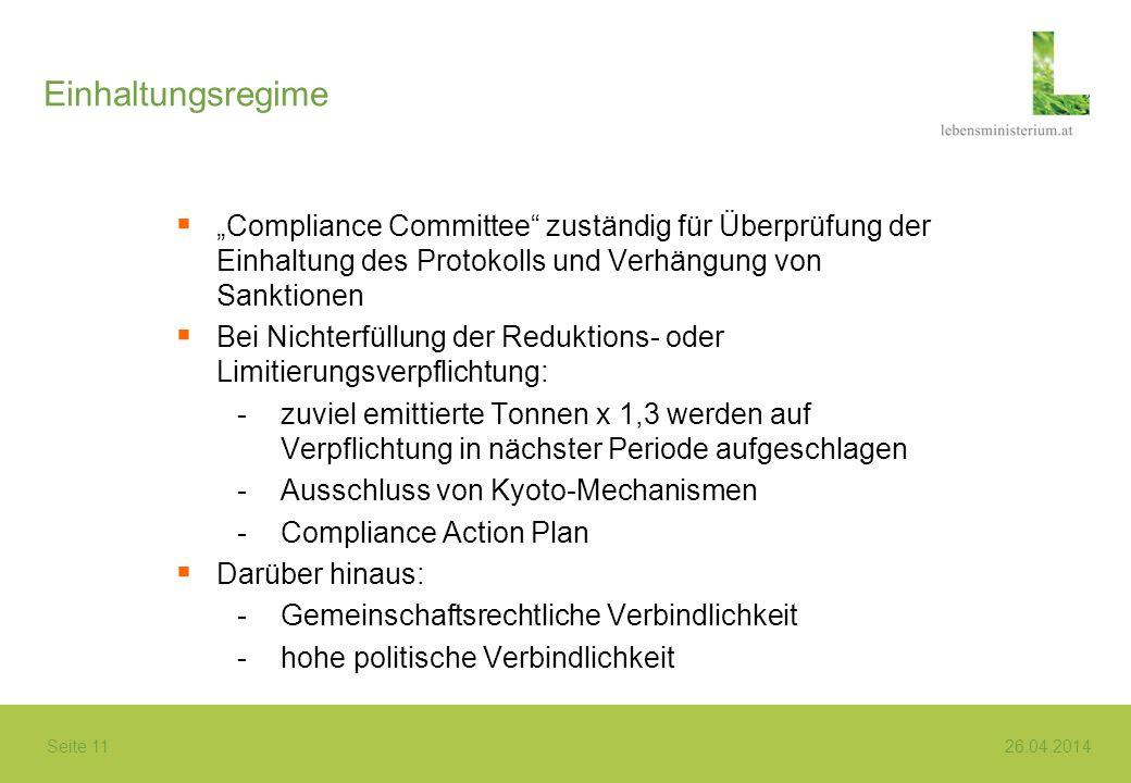 Seite 11 26.04.2014 Einhaltungsregime Compliance Committee zuständig für Überprüfung der Einhaltung des Protokolls und Verhängung von Sanktionen Bei N