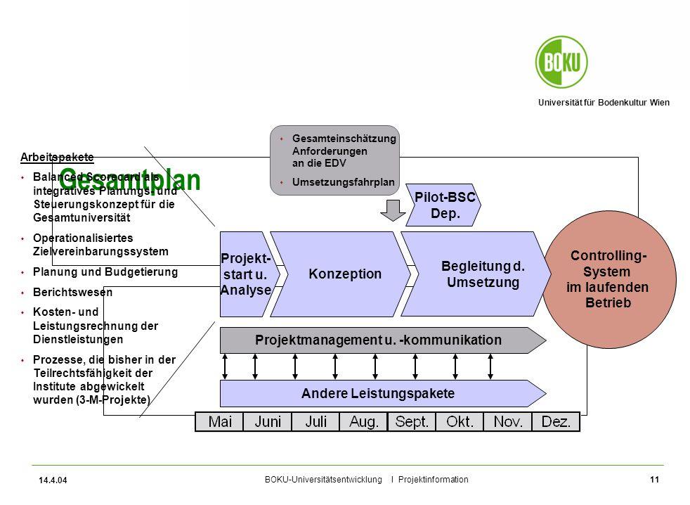 Universität für Bodenkultur Wien BOKU-Universitätsentwicklung I Projektinformation 14.4.04 11 Gesamtplan Projekt- start u. Analyse Konzeption Projektm