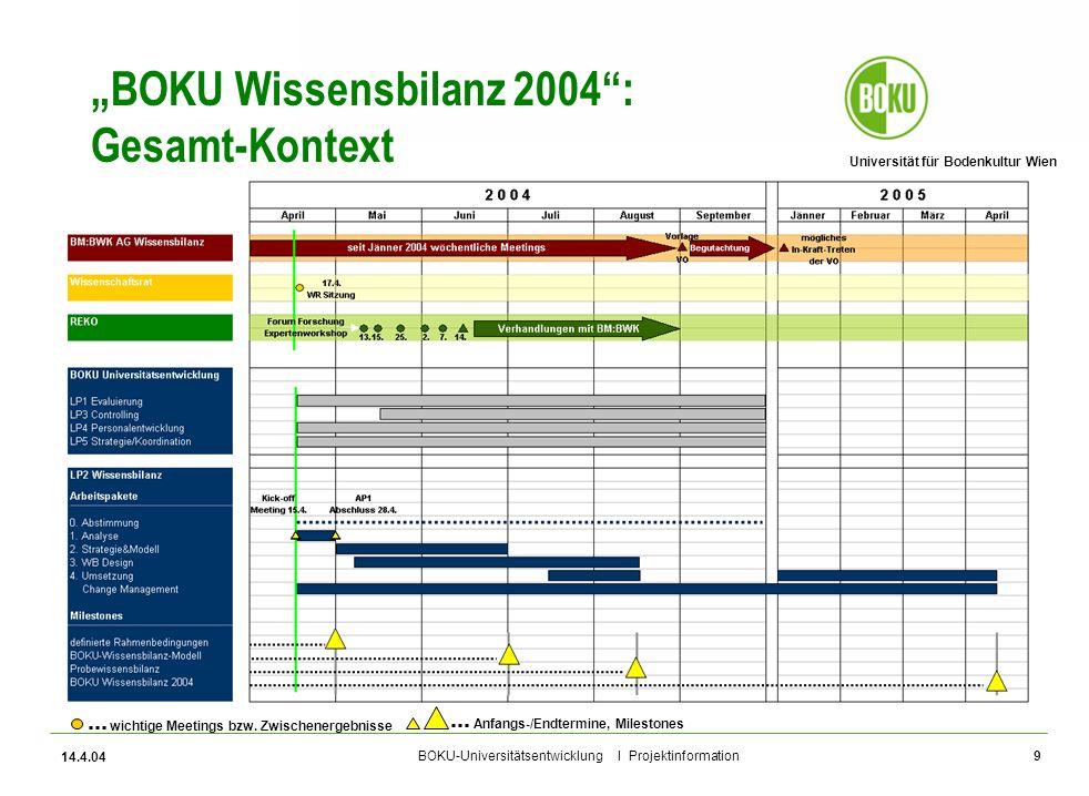 Universität für Bodenkultur Wien BOKU-Universitätsentwicklung I Projektinformation 14.4.04 9 BOKU Wissensbilanz 2004: Gesamt-Kontext wichtige Meetings