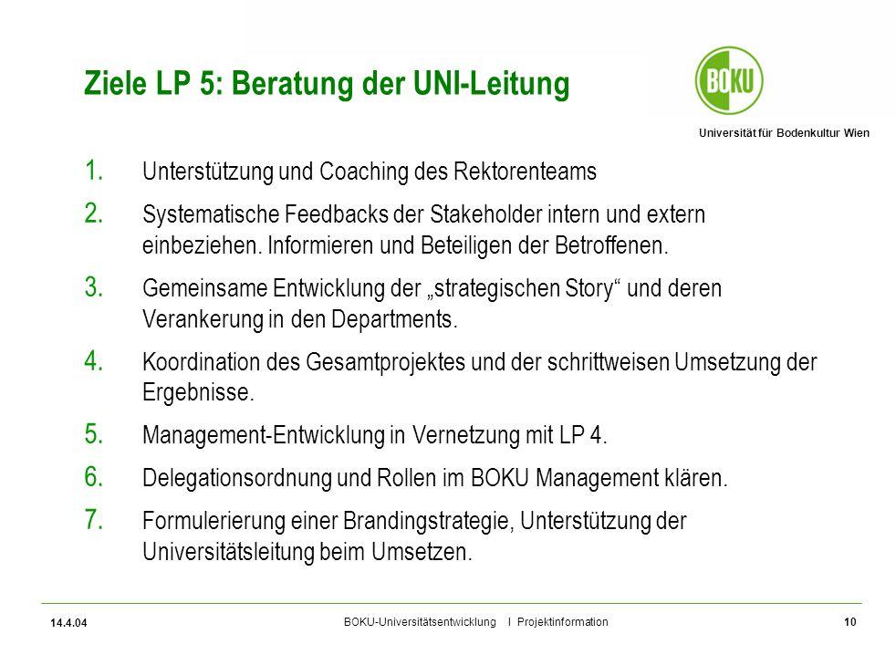 Universität für Bodenkultur Wien BOKU-Universitätsentwicklung I Projektinformation 14.4.04 10 Ziele LP 5: Beratung der UNI-Leitung 1. Unterstützung un