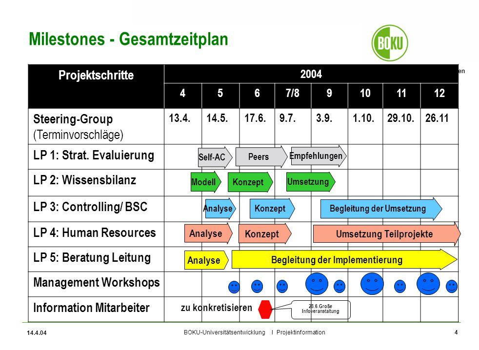 Universität für Bodenkultur Wien BOKU-Universitätsentwicklung I Projektinformation 14.4.04 4 Milestones - Gesamtzeitplan Projektschritte 2004 4567/891