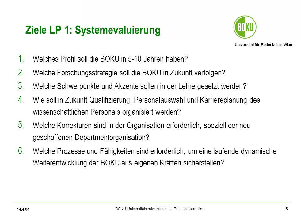 Universität für Bodenkultur Wien BOKU-Universitätsentwicklung I Projektinformation 14.4.04 6 Ziele LP 2: Wissensbilanz Steuerung 1.Einen Beitrag zur Einrichtung eines nachhaltigen Systems des Qualitätsmanagements leisten, in das sie gemeinsam mit den künftigen Evaluierungen zu integrieren ist.