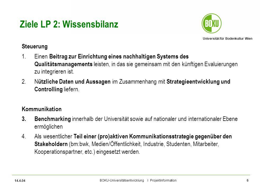 Universität für Bodenkultur Wien BOKU-Universitätsentwicklung I Projektinformation 14.4.04 6 Ziele LP 2: Wissensbilanz Steuerung 1.Einen Beitrag zur E