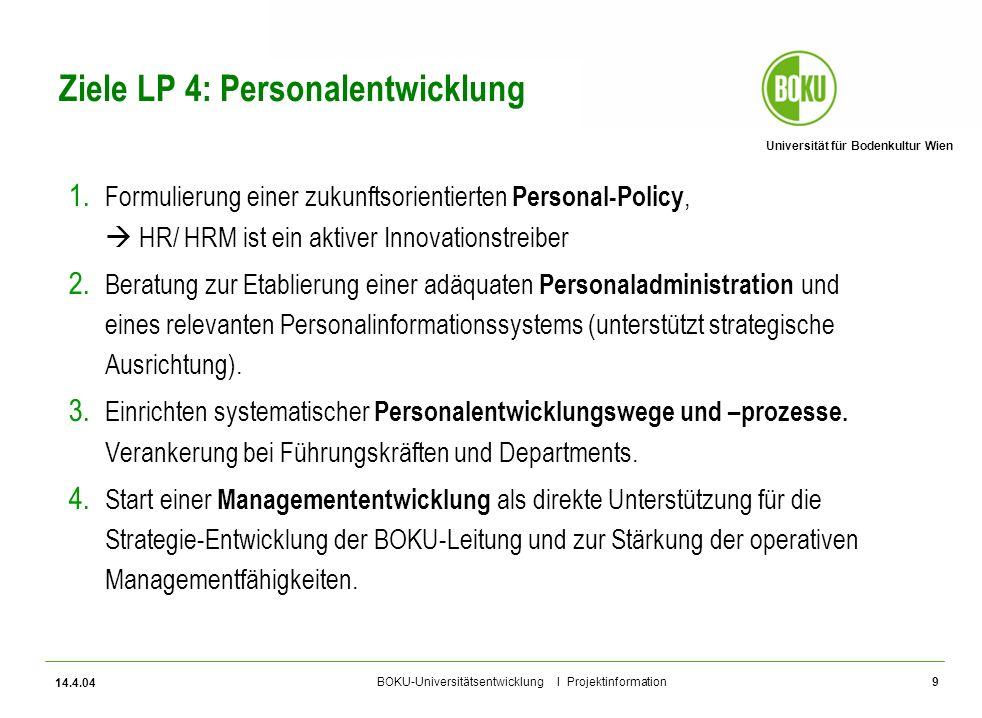 Universität für Bodenkultur Wien BOKU-Universitätsentwicklung I Projektinformation 14.4.04 9 Ziele LP 4: Personalentwicklung 1. Formulierung einer zuk