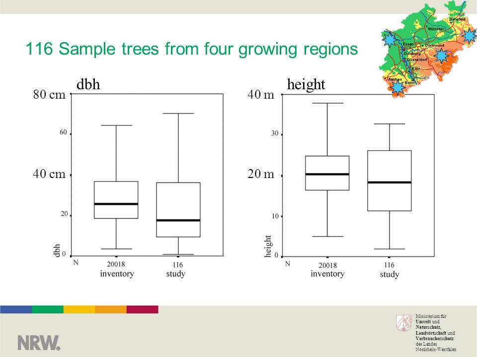 Ministerium für Umwelt und Naturschutz, Landwirtschaft und Verbraucherschutz des Landes Nordrhein-Westfalen 116 Sample trees from four growing regions 80 cm 40 cm 40 m 20 m dbhheight