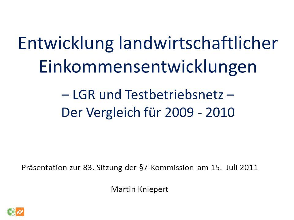 Entwicklung landwirtschaftlicher Einkommensentwicklungen – LGR und Testbetriebsnetz – Der Vergleich für 2009 - 2010 Präsentation zur 83. Sitzung der §