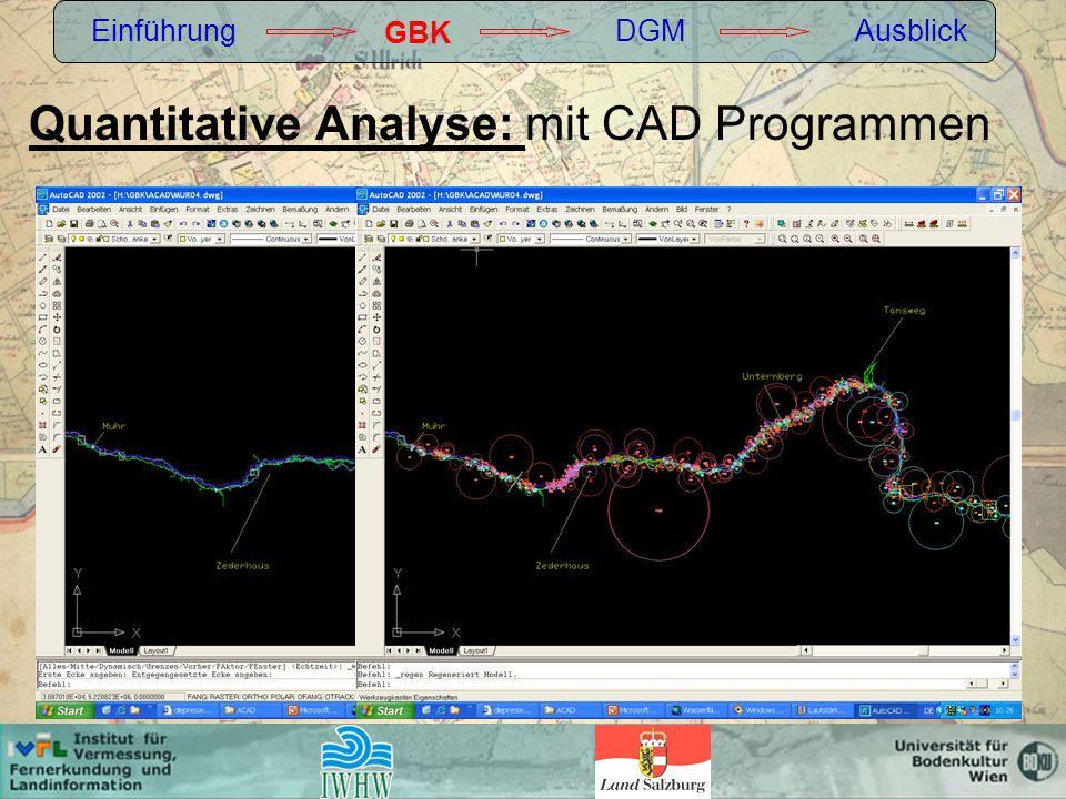 Quantitative Analyse: mit CAD Programmen Einführung GBK DGMAusblick
