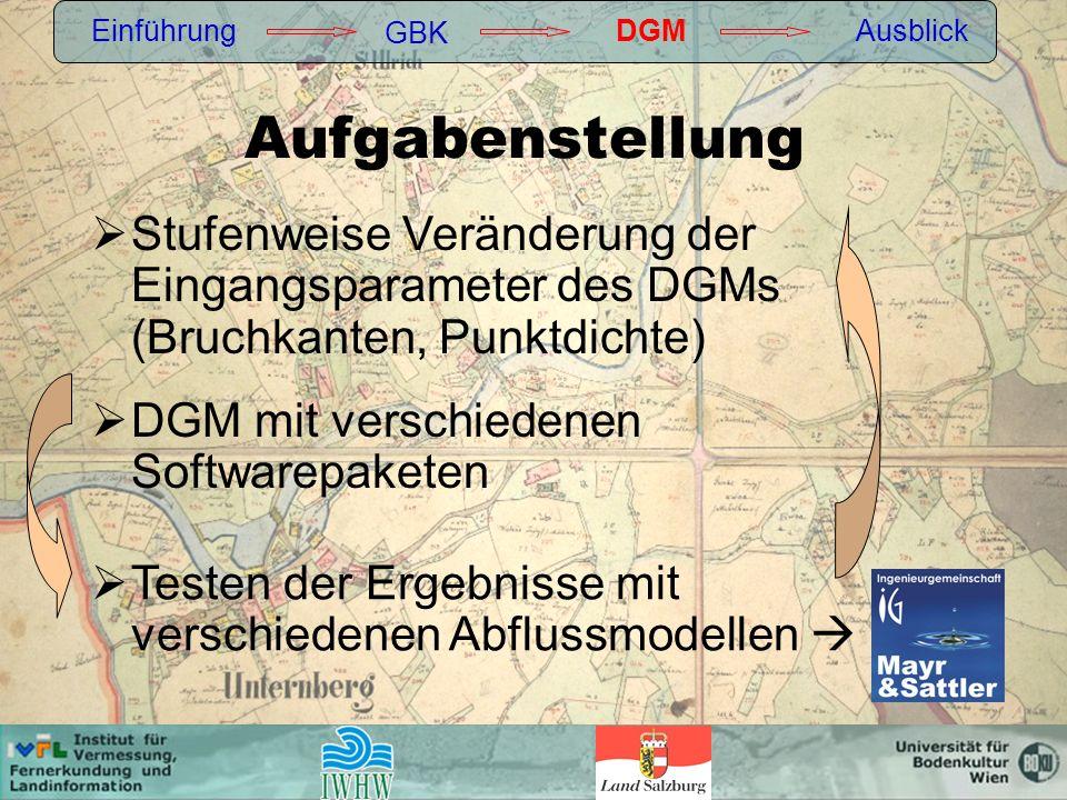 Aufgabenstellung DGM mit verschiedenen Softwarepaketen Einführung GBK DGMAusblick Testen der Ergebnisse mit verschiedenen Abflussmodellen Stufenweise