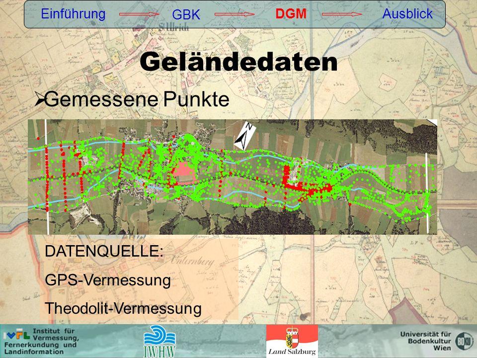 Geländedaten Einführung GBK DGMAusblick Gemessene Punkte DATENQUELLE: GPS-Vermessung Theodolit-Vermessung