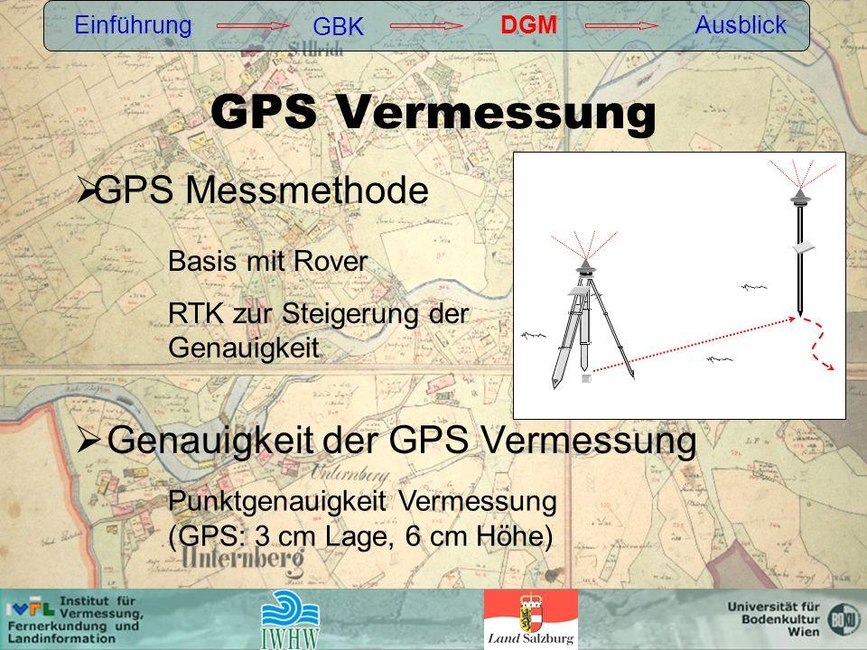 Einführung GBK DGMAusblick Genauigkeit der GPS Vermessung GPS Messmethode Punktgenauigkeit Vermessung (GPS: 3 cm Lage, 6 cm Höhe) Basis mit Rover RTK