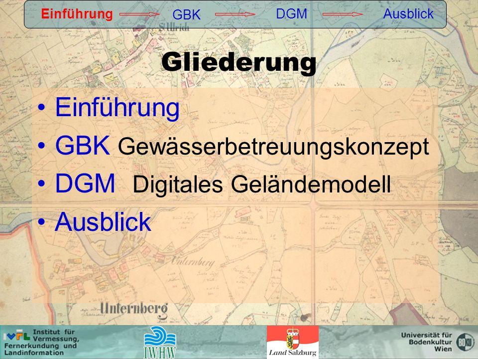 Gliederung Einführung GBK Gewässerbetreuungskonzept DGM Digitales Geländemodell Ausblick Einführung GBK DGMAusblick