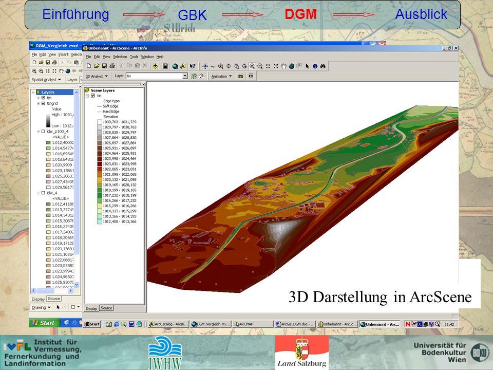 Einführung GBK DGMAusblick Berechnung: TIN 3D Darstellung in ArcScene