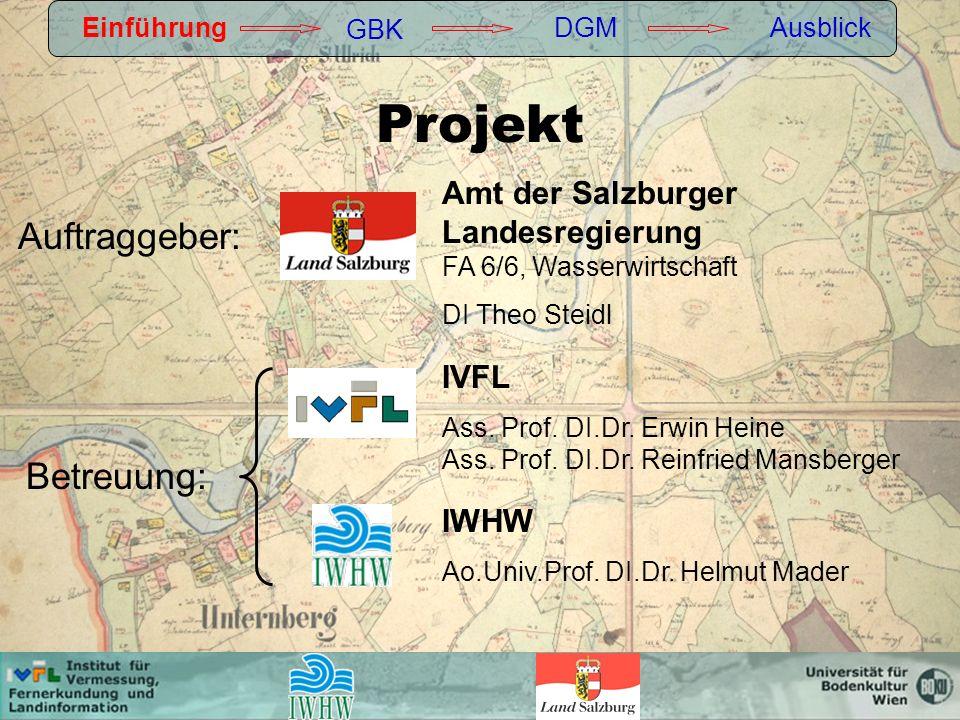 GBK Gewässerbetreuungskonzept Begriffsdefinition: Einführung GBK DGMAusblick Umfassendes Planungsinstrument zur Erfassung schutzwasserwirtschaftlicher Notwendigkeiten (Sicherstellung des vorbeugenden Hochwasserschutzes unter Wahrung des öffentlichen Interesses der Sicherung der ökologischen Funktionsfähigkeit des Gewässers).