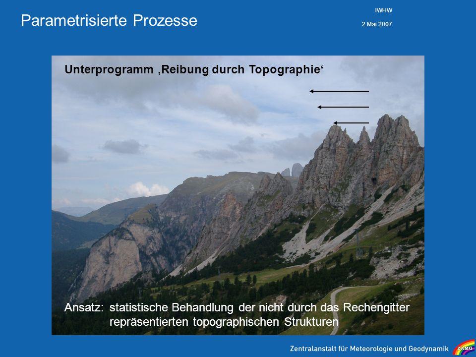 2 Mai 2007 IWHW Parametrisierte Prozesse Unterprogramm Reibung durch Topographie Ansatz: statistische Behandlung der nicht durch das Rechengitter repr