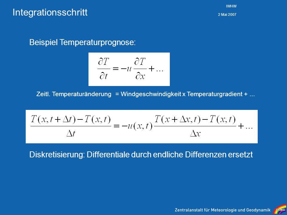 2 Mai 2007 IWHW Integrationsschritt Zeitl. Temperaturänderung= Windgeschwindigkeit x Temperaturgradient +... Beispiel Temperaturprognose: Diskretisier
