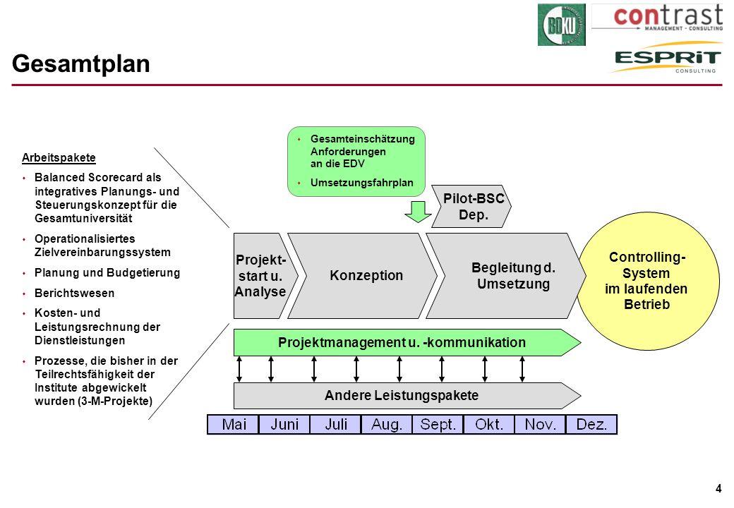 4 Gesamtplan Projekt- start u. Analyse Konzeption Projektmanagement u. -kommunikation Andere Leistungspakete Controlling- System im laufenden Betrieb
