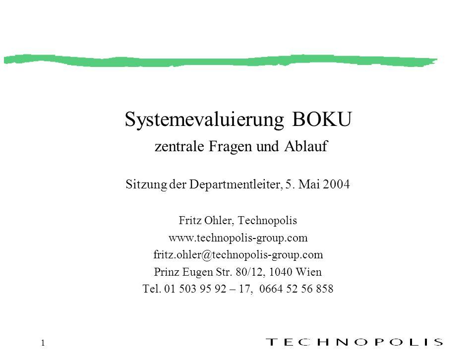 1 Systemevaluierung BOKU zentrale Fragen und Ablauf Sitzung der Departmentleiter, 5. Mai 2004 Fritz Ohler, Technopolis www.technopolis-group.com fritz