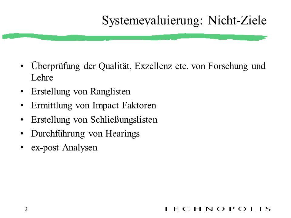 3 Systemevaluierung: Nicht-Ziele Überprüfung der Qualität, Exzellenz etc. von Forschung und Lehre Erstellung von Ranglisten Ermittlung von Impact Fakt
