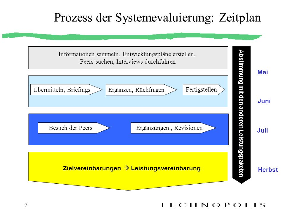 7 Prozess der Systemevaluierung: Zeitplan Informationen sammeln, Entwicklungspläne erstellen, Peers suchen, Interviews durchführen Abstimmung mit den