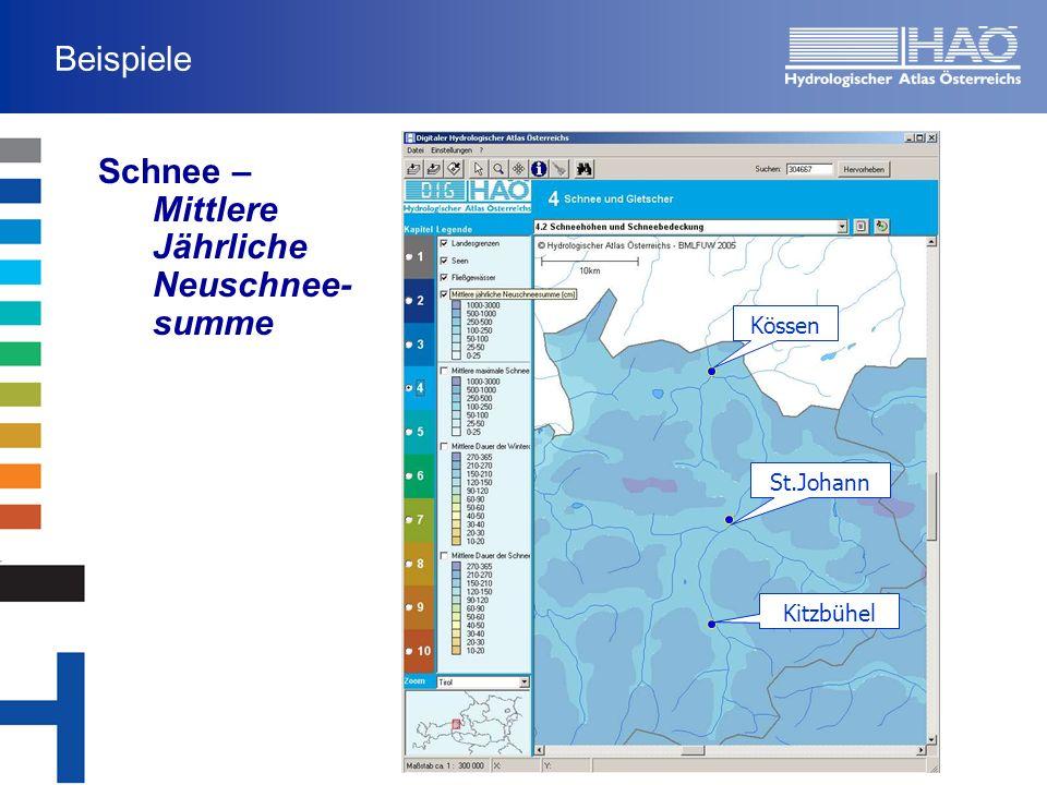 Beispiele Schnee – Mittlere Jährliche Neuschnee- summe Kössen St.Johann Kitzbühel